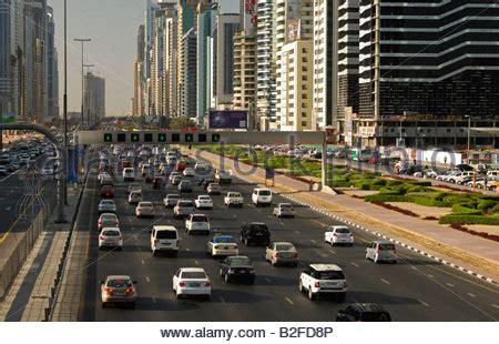 emirates multi city dubai city traffic on the streets of dubai united arab