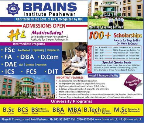 Mba Syllabus Peshawar by Admission Open In Brain Institute Peshawar 19 Jul 2017