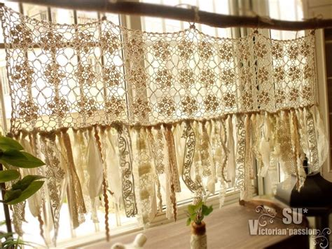 vintage romantic kitchen valance boho crochet curtain