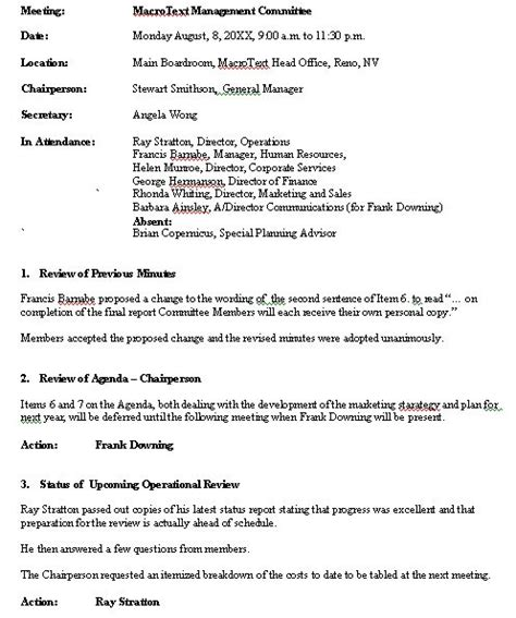 Na Meeting Format Template by Meeting Minutes Sle Format For A Typical Meeting