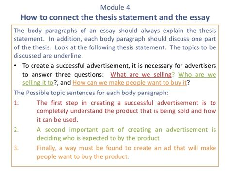 what is the thesis statement in an essay e3 m4 5 develop a thesis statement