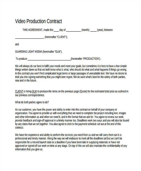 production contract 6 production contract sles templates pdf doc