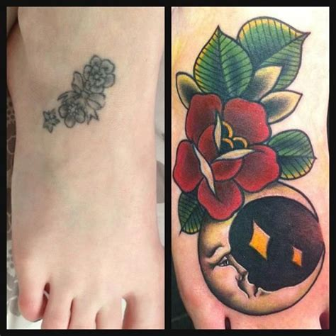 red rose tattoo cover up a half moon and cover up by