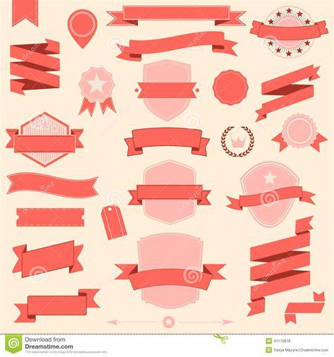 layout plan vector big set retro design ribbons and badge vector design