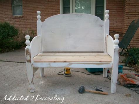 headboard into bench bench made from a headboard and footboard