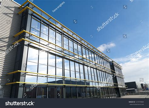 glass exterior modern office building stock photo