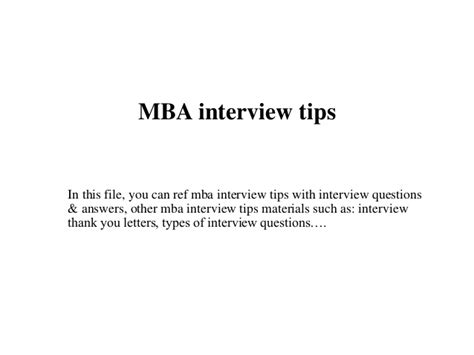 Tips Mba by Mba Tips