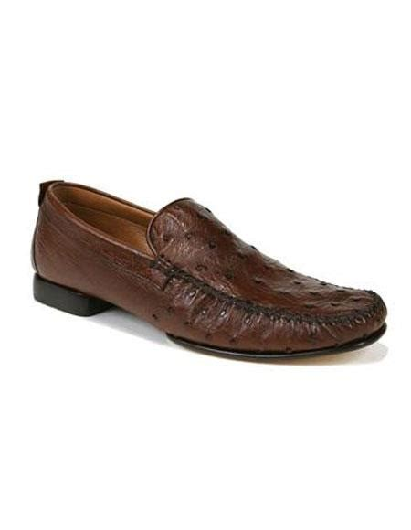 ostrich skin loafers sku ap500 mens tabac ostrich skin slip on loafers leather
