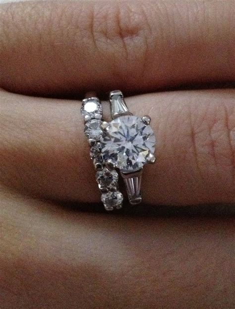 Diamonds On Engagement Band by With Baguettes Engagement Ring And Small