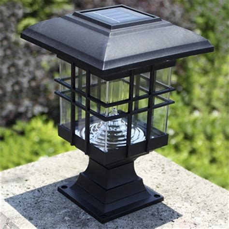 Chic Black 8 Inches High Abs Mini Solar 3 Led Garden Post Solar Led Post Light