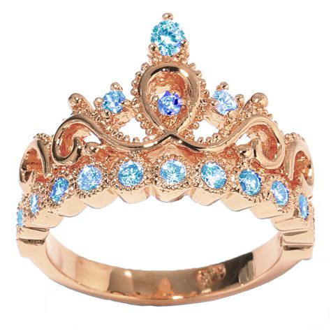 14k gold princess crown with birthstone rings