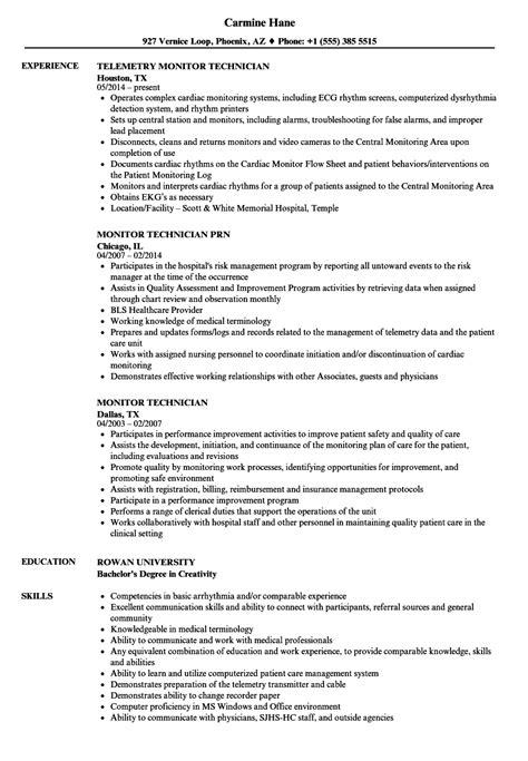 monitor technician resume sles velvet