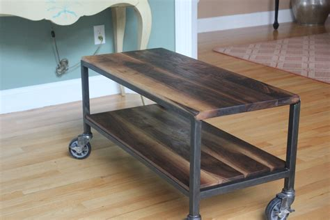 Industrial Style Kitchen Islands by Custom Made 2 Tier Coffee Table On Casters By Harvest Home