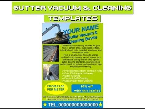 Gutter Cleaning Flyers Leaflets Business Cards Business Templates Forms Youtube Gutter Template