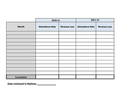 attendance tracking template 9 free download for pdf