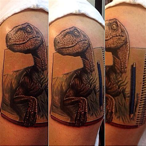dinosaur velociraptor coming out of sketchbook by cesar