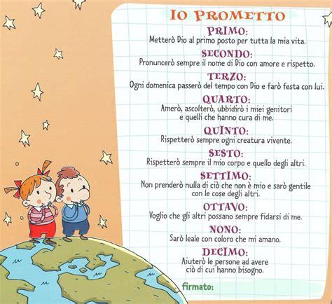 tavole school scheda bambini promettto dieci comandamenti html