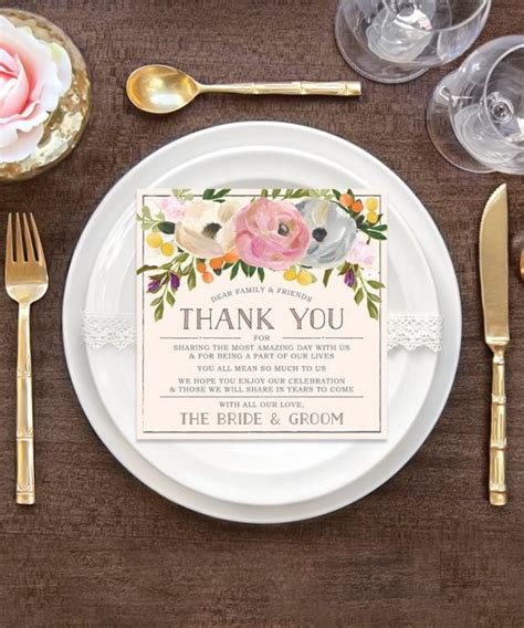 how to make wedding place setting cards wedding thank you place card wedding reception place setting thank you sweet blooms