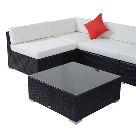sofa cushion stabilizer outsunny 7pc outdoor patio wicker rattan sectional sofa