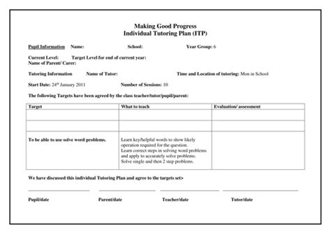 Template For 1 1 Tutoring By Emmer88beetle Teaching Resources Tes Tutoring Report Template