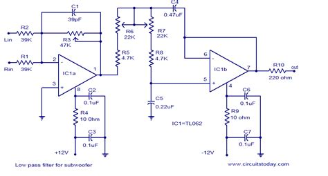 low pass filter circuits low pass filter for subwoofer electronic circuits and diagrams electronic projects and design