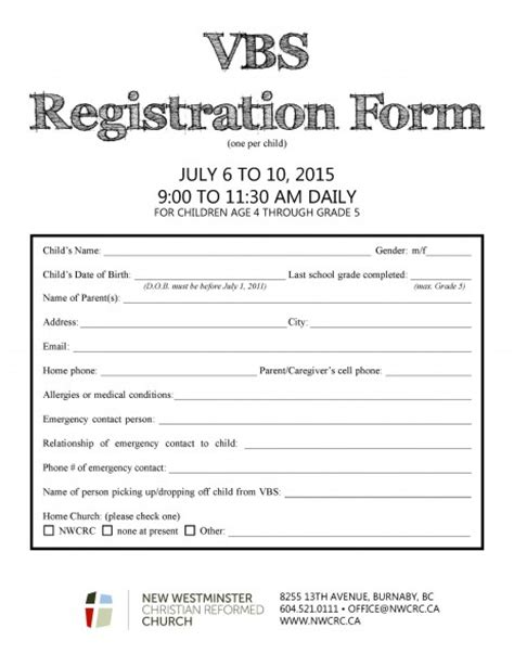 Vbs 187 New Westminster Christian Reformed Church In Burnaby Bc Vbs Registration Form Template