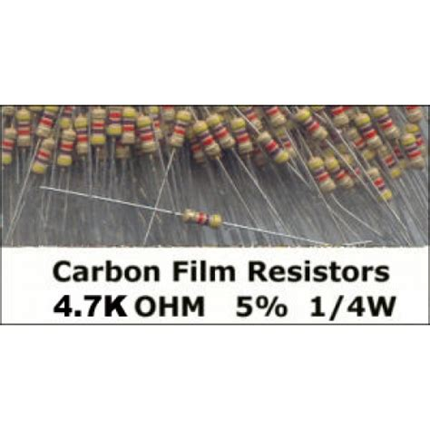 Resistor 1 500 Ohm 1 4 W 5 1k5 order now 4 7k ohm carbon resistors 1 4w 5 pack