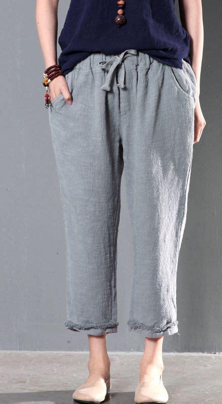 Hi Waist Cewek gray linen oversize trousers