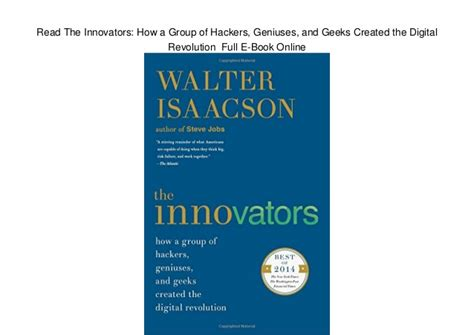 innovators how a group read the innovators how a group of hackers geniuses and geeks crea