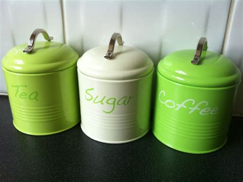 Lime Green Kitchen Canisters | lime green tea coffee sugar kitchen canister jar tins