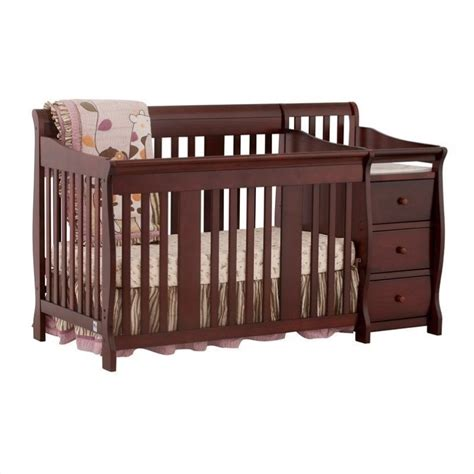 4 In1 Crib Changer Combo In Cherry 04586 474 Baby Cribs With Changer