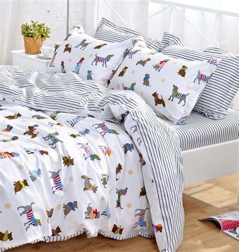 dog bedding set yoyomall cotton cartoon dog bedding set cute puppy duvet