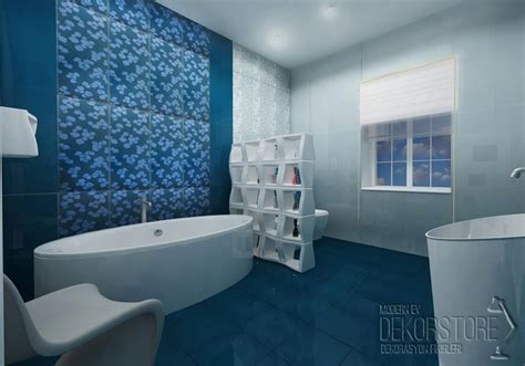 Decorating With Blue by Mavi Desenli Banyo Fayans Modelleri Dekorstore