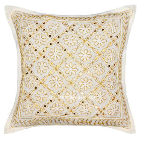 Pillow With Embroider S white golden color threads embroidered cotton pillow cover royalfurnish