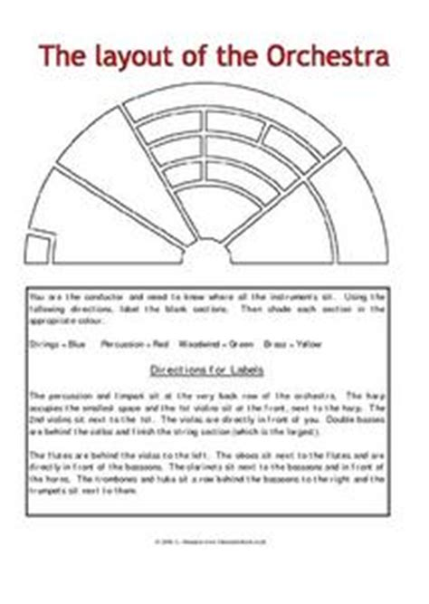the sections of the orchestra orchestra layout 7th 8th grade worksheet lesson planet