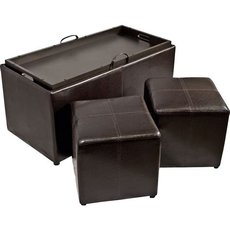set with ottoman 3 storage ottoman and cube set in ottomans