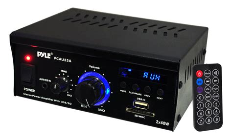 Small 2 Channel Home Pyle Home Pcau25a 2 X 40 Watts Mini Power