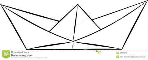 dessin bateau noir origami de papier simple de verrat de bateau vecteur noir