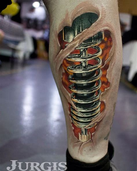 cool piston tattoo on leg by jurgis mikalauskas best