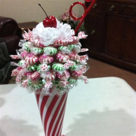 how to do a christmas candy sunday centerpiece sundae you can use any type glass colored styrofoam 3 quot