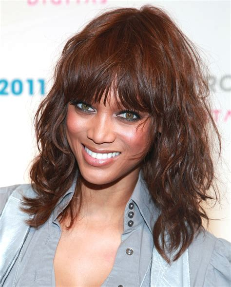 Tyra Banks With Fringe Bangs Short Hairstyle 2013 | top 10 celebrity hairstyles with full bangs fringes