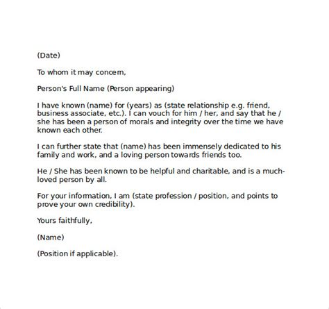 exle of a character witness letter cover letter templates