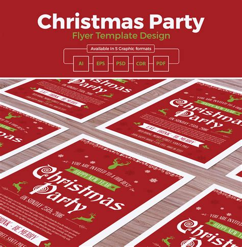 templates flyers cdr christmas party flyer template design in ai eps psd cdr