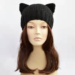black cat hat cat ears cat ear hat womens cat beanie cat