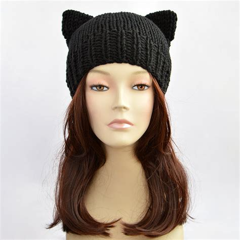 cat ear knit hat pattern black cat hat cat ears cat ear hat womens cat beanie cat