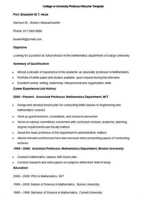 College Professor Resume Templates Free by 50 Resume Templates Pdf Doc Free Premium