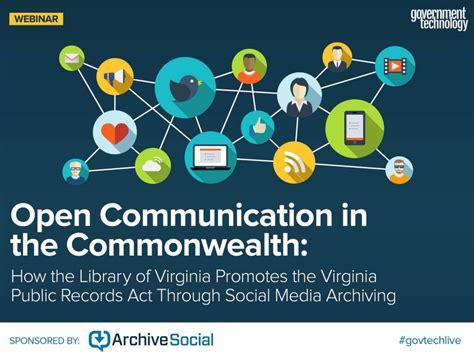 Virginia Records Act Library Of Virginia Social Media Records Webinar Archivesocial