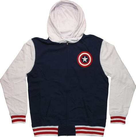 Hoodie Zipper Captain America Redmerch captain america contrast sleeve zip hoodie