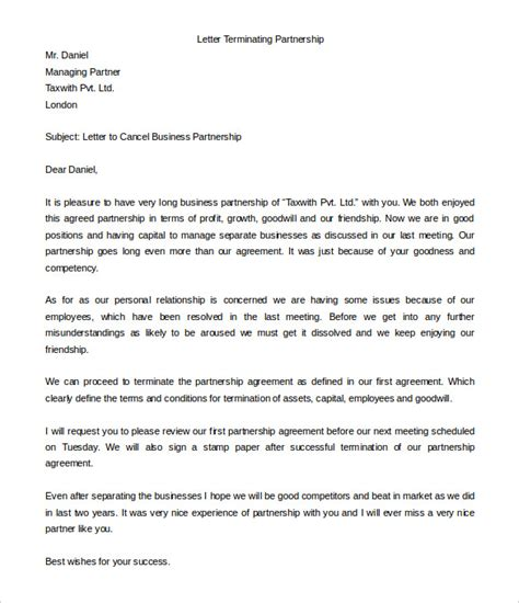 Letter Ending A Business Relationship letter template formal letter template