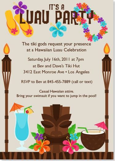hawaiian menu template tiki luau birthday invitation wording http www